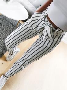 Grau Weiße Gestreift Taschen mit Schleife Gürtel Hohe Taille Mode Nine's Paperbag Hose Damen Karottenhose