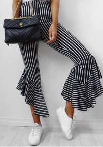 Black White Striped Pattern Irregular Ruffle High Waisted Bell Bottom Flare Pants
