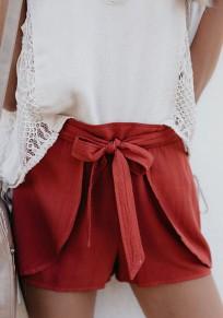 Red Plain Irregular Drawstring Waist Low-rise Fashion Shorts