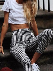 Black White Plaid Print Zipper High Waisted Going out Casual Skinny Pencil Pants