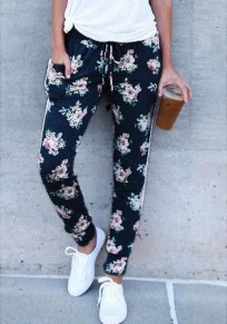 Schwarze Blumentaschen Kordelzug Taille Mode lange Hosen