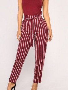 Red-White Striped Sashes High Waisted Going out Nine's Pants