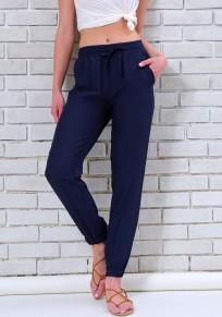 Pantalones largos bolsillos cordón casuales azul