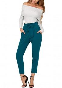 Pantalones largos bolsillos fajas casuales azul