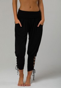 Pantalons longue large avec poches avec à lacets plissé mode yoga décontracté femme noir