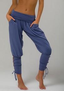 Pantalons longue large avec poches avec à lacets plissé mode yoga ydécontracté femme bleu