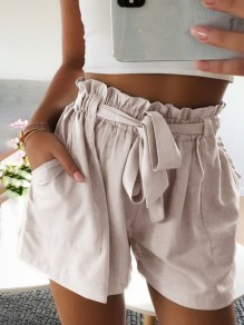 Beige Sashes Pockets Ruffle Casual Short Pants