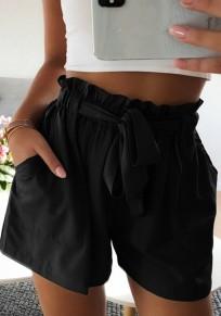 Schwarz Schleife Taschen Hohe Taille Beiläufige Kurze Hose Bindegürtel Damen Shorts Hotpants Günstig