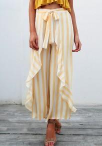 Pantalon longue rayures à sans manches volantées à rayures orange