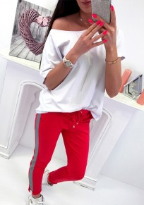 Red Patchwork Pockets Drawstring Casual Long Pants