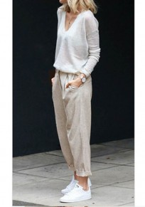 Pantalones fajas bolsillos casualeses 7/8 albaricoque