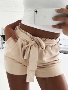 Apricot Sashes Pockets Ruffle Fashion Shorts
