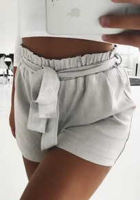 Light Grey Sashes Pockets Ruffle Fashion Shorts
