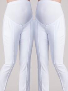 Pantalon longue taille haute de maternité élégante taille plus occasionnel crayon blanc