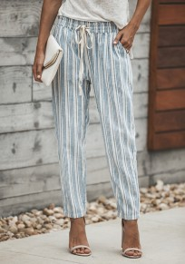 Blue Striped Drawstring Pockets Casual Long Pants
