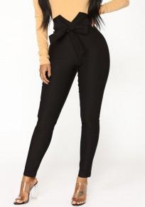 Black Sashes High Waisted Fashion Long Pants