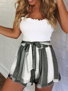 Green-White Striped Sashes Cascading Ruffle High Waisted Going out Shorts