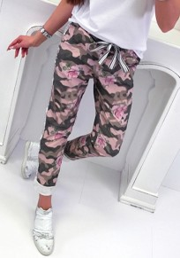 Pink Camouflage Pockets Sashes Lace-up Casual Sports Long Pants