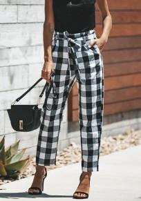 Pantalones largos bolsillos A cuadros fajas casuales blanco Y negro