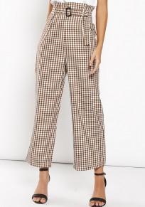 Khaki Plaid Schärpen Rüschen Reißverschluss Mode Nine's Pants