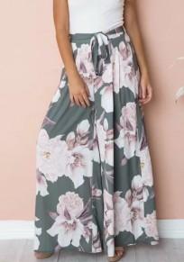 Pantalons large longue imprimé à fleurie fluide décontracté boho femme gris vert