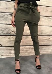 Armee-Grün Taschen mit Bindegürtel Schleife Hohe Taille Beiläufige Damen Hosen Stoffhose Karottenhose