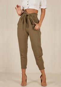 Armeegrün Taschen Schleife High Waist Beiläufige Nine's Stoffhose Mit Bindegürtel Damen Mode Paper Hose