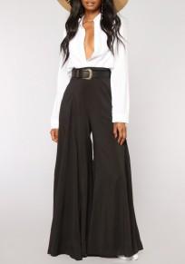 Black Draped High Waisted Office Worker Elegant Wide Leg Long Pants