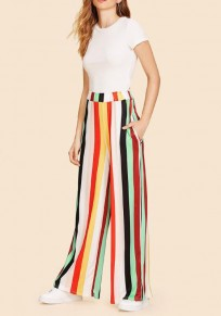 Burgundy Striped Rainbow Flowy Bohemian Elegant Country Wide Leg Long Pants
