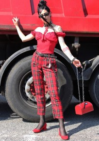 Red Black Plaid Print Wide Leg High Waisted Trendy Clubwear Party Long Pants