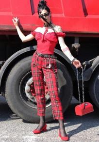 Pantalon longue imprimé à carreaux large jambe haute tendance clubwear fête rouge noir