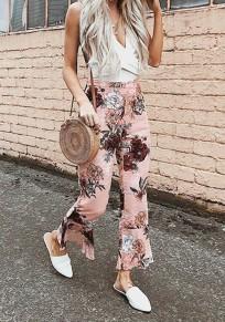 Pantalon longue fond fleuri flare bohémien évasé taille haute rose