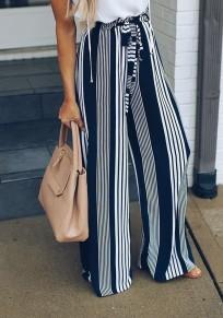Pantalons large longue rayé fluide mode femme mariniere noir et blanc