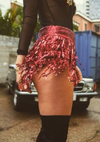 Red Sequin Tassel Glitter High Waister Clubwear Fashion Shorts