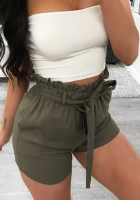 Army Green Sashes Pockets High Waisted Going out Casual Shorts
