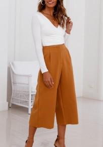 Orange Pockets Elastic Waist Casual Seven's Pants