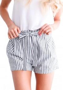 Shorts écharpes à rayures plissées taille haute plissée / tous les jours gris