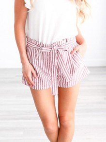 Pink Striped Print Sashes Pleated High Waisted Office Worker/Daily Going out Shorts