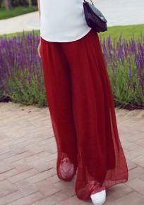 Pantalones largos borgoña drapeada de gasa casuales bohemia de talle alto Y pierna ancha