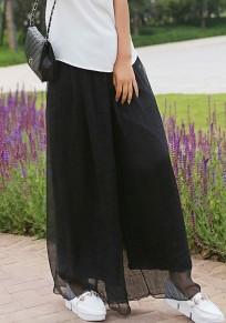 Pantalones largos drapeado de gasa casuales bohemia de cintura ancha negro