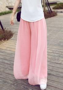 Pantalons longue en mousseline large fluide mode boho femme rose