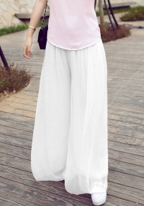 White Draped High Waisted Bohemian Casual Chiffon Wide Leg Long Pants