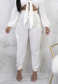 Pantalones fajines con volantes elástico casuales 7/8 blanco