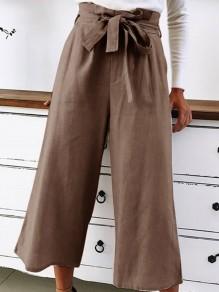 Pantalones cinturones de moda con cordones anchos pierna 7/8 caqui