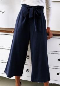 Pantalones cinturones de moda con cordones pierna ancha 7/8 azul oscuro