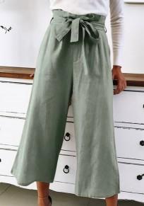Pantalons écharpes à lacets large jambe 7/8 vert armée
