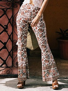 White Tribal Floral Print High Waisted Bohemian Flare Bell Bottom Long Pants