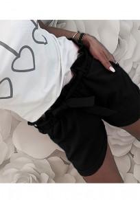 Black Pockets Sashes Drawstring Waist Casual Shorts