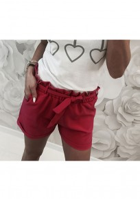 Wine Red Pockets Sashes Drawstring Waist Casual Shorts