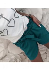 Green Pockets Sashes Drawstring Waist Casual Shorts